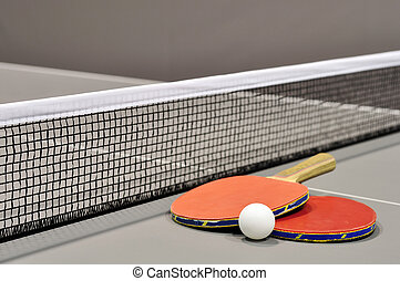 Equipment for table tennis - racket, ball, table closeup