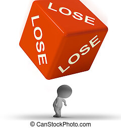 Lose Dice Representing Defeat And Loss