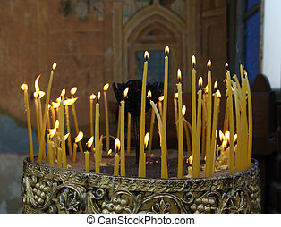 Orthodoxy - Candles in Serbian Orthodox Monastery Kakovo...