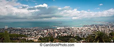 Panorama of Haifa Israel - Bahai Gardens in Haifa, Israel
