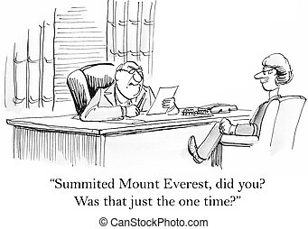 Boss is not impressed by Mount Everest resume - Summited...