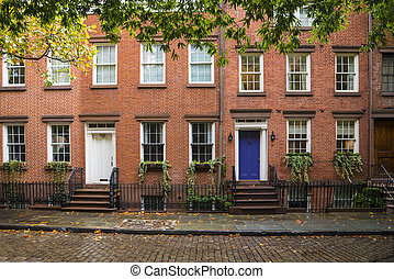 Greenwich Village apartment buildings, New York City - Old...