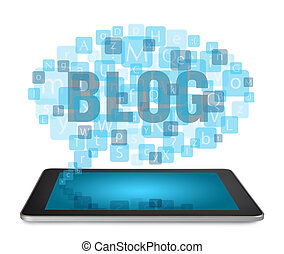 Tablet PC with blogging concept - Tablet PC with cloud of...