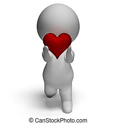 3d Character Holding Heart Shows Love And Valentines
