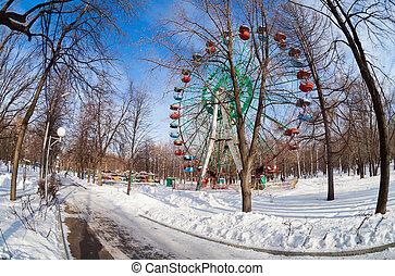 Ferris wheel in winter park in Samara, Russia