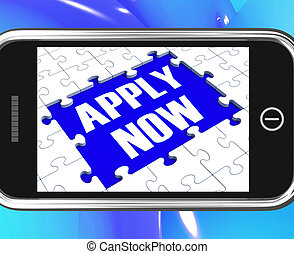 Apply Now On Smartphone Showing Job Applications And...