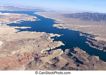 view of the Colorado River and Lake Mead, a snapshot taken...