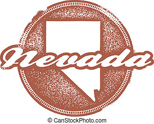 Nevada USA State Stamp - Vintage style Nevada State Stamp