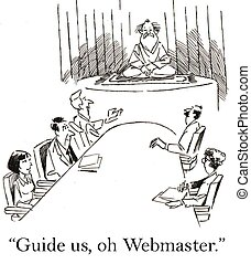 Business team at corporate need web help - Guide us, oh...