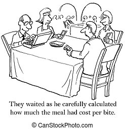 One of the diners is an accountant - They waited as he...