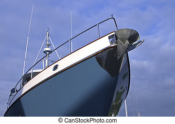 Boat from Below - Boat hull and cabin area scene from a low...
