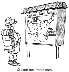 Hiker sees a map with a fire warning - You are here. Your...