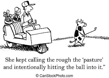 The cow wants to have a meal on the course - She kept...