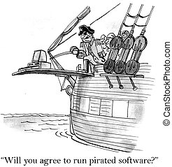 "A pirate is making a desktop walk the plank - ""Will you..."