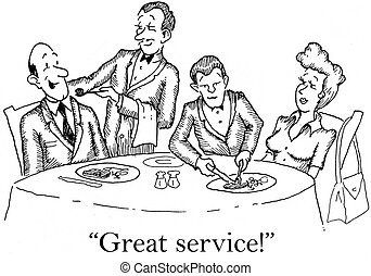 """Waiters do a great job - """"Great service."""" impressed couple..."""
