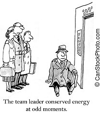 Leader sits in the elevator before meeting - The team leader...