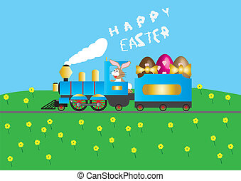Easter Steam Train - A Steam Train loaded with Easter Eggs...