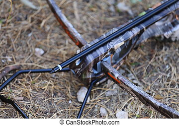 Crossbow and Arrow - A close up view of crossbow and arrow...