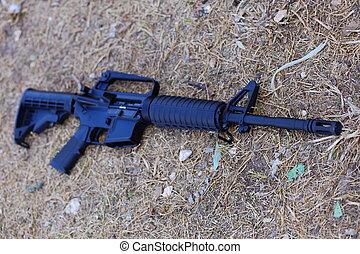 Assault Rifle - A close up view of an AR-15 assault rifle...