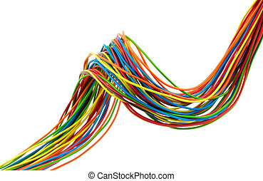 Bunch of wires - Bunch of different colors wires Isolated on...