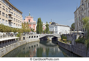 Triple Bridge, Ljubljana, Slovenia - The Franciscan Church...