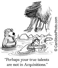 "Bear is coaching man in catching fish - ""Perhaps your true..."