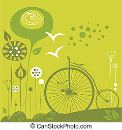Penny Farthing Background - Decorative spring background...