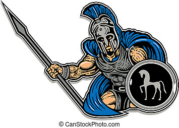 trojan with shield and spear