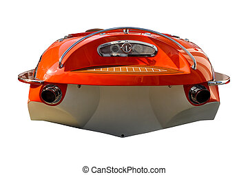 Speed boat on a white background, rear view