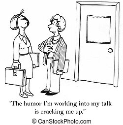 """Woman speaker is laughing at her own joke - """"The humor I'm..."""
