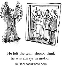 Boss does jumping jacks to look busy - He felt the team...