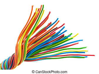 Bunch of wires - Bunch of different colors wires. Isolated...