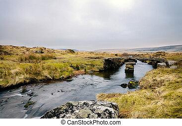 Winters Evening on Dartmoor - A clapper bridge over Walla...