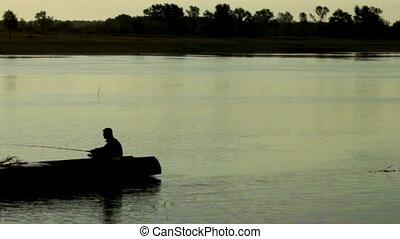 river fishermen in the boat - morning river fishermen in the...