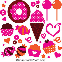 Sweet patterned cakes set for Valentine's day isolated on white