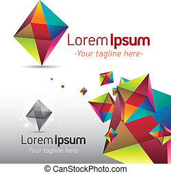 Triangular Prism - Abstract icon and background template...