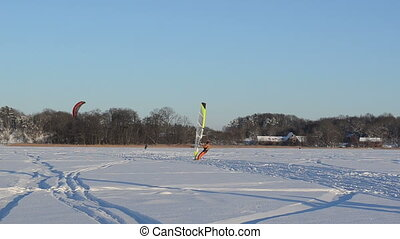 kiteboard ice sail people - panorama view of people ice...
