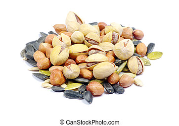 nuts and seeds isolated on white background
