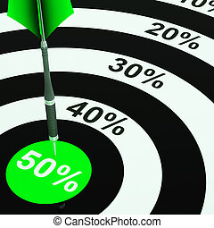 50Percent On Dartboard Showing Price Clearances Or Cheap Products