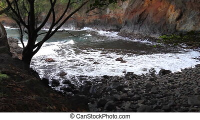 Hawaiian Beach Cove - Looking down in a small inlet in the...