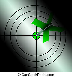 Arrow Aiming On Dartboard Showing Targeting Perfection