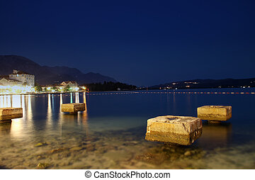 Night over Boka Kotorska bay, Tivat, Montenegro