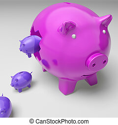 Piggybanks Inside Piggybank Shows Investment Revenues