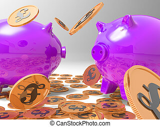 Raining Coins On Piggybanks Shows Richness