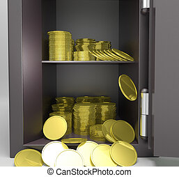 Open Safe With Coins Showing Treasure Protection