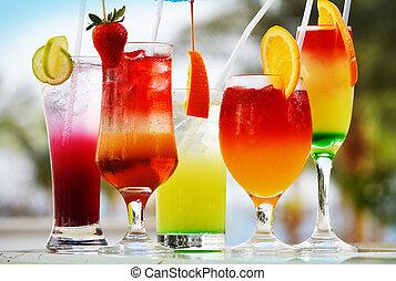 bebidas, cinco, Composição, ÓCULOS