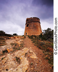 Torre de sa Sal Rossa, Ibiza, Balearic Islands, Spain -...