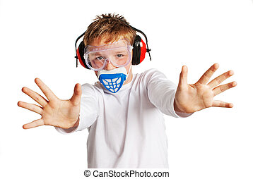 Boy with work mask protection - Boy with ear protection and...