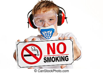 Boy with protection and no smoking sign - Boy with ear...