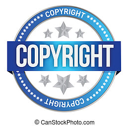 stamp with the text copyright illustration design over white